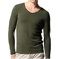 Minetom Uomini Moda Scollo A V Cime Casuale Manica Lunga Camicie Slim Fit Clubwear (T-shirt Manica Lunga Camicia Verde)