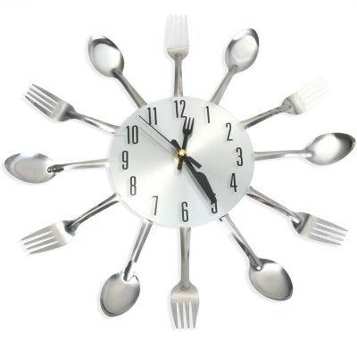 Wtzs 3d Grande horloge murale Design moderne en acier inoxydable Fourchette de cuisine Horloge murale montre à quartz de qualité Aiguille horloges murales Home Decor