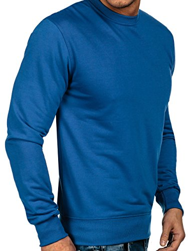 BOLF Herren Pullover Sweatshirts Langarmshirt Rundhals MIX Basic Blau_7039