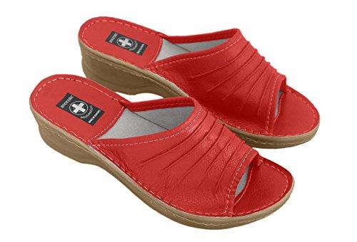 Véritable en cuir pour femmes, Tongs Insole. Chaussons orthopédiques avec différentes couleurs Rouge - rouge