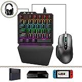 Delta essentials FO203 Set di Tastiera e Mouse da Gioco, Tastiera Meccanica Gaming Switches Blu, Adattatore tastiera e mouse per PS3/PS4/XBOX ONE/Nintendo Switch/PC