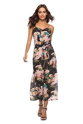 Damen Floral Backless Overall Strappy Sleeveless Split V-Ausschnitt Casual Gürtel Overall Sommer Lange Hosen Strampler Schwarz L Floral Strappy Kleid