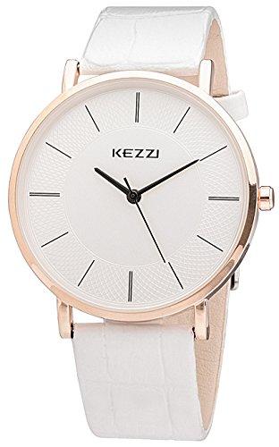 Kezzi Men's Watches K738 Ultra-thin Casual Classic Quartz White Dial White Leather Wrist Watch