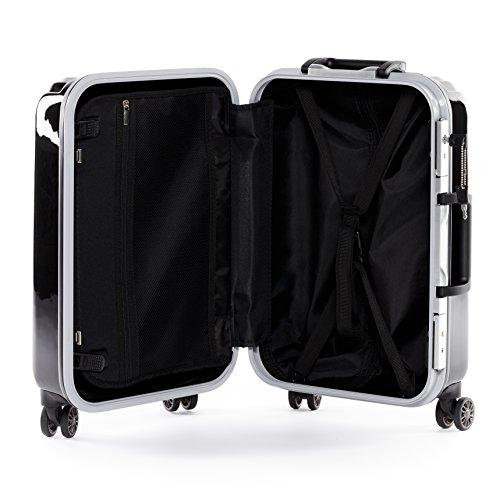 FERGÉ Pilotenkoffer PARIS - Business-Trolley mit Laptoptasche ABS&PC - Laptoptrolley schwarz glänzend schwarz glänzend