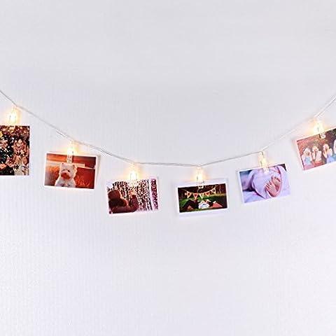 LED-Lichterkette zum Aufhängen von Fotos, Bildern, Karten und Notizen mit automatischem An/Aus-Timer, Warmes Weiß 4,5m, Batterien-betrieben, Fotogirlande, unentbehrliche Wanddekoration von Mojocraft
