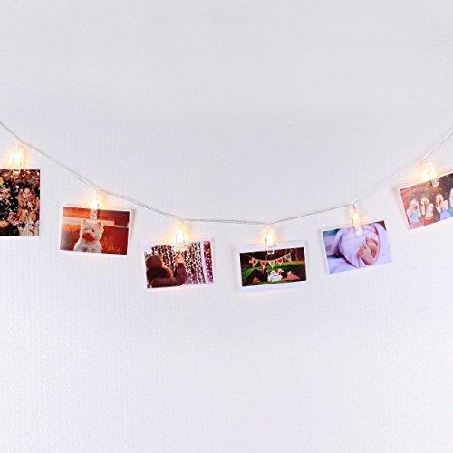Filo 4,5m per appendere foto immagini cartoline e appunti con led bianco caldo con timer automatico on/off carica batteria, decorazione da muro essenziale di mojocraft