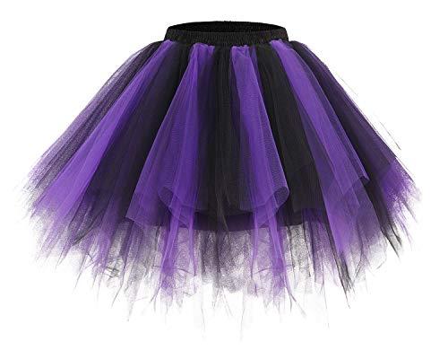 bridesmay Tutu Damenrock Tüllrock 50er Kurz Ballet Tanzkleid Unterkleid Cosplay Crinoline Petticoat für Rockabilly Kleid Black-Purple L (Cosplay Billig Für)