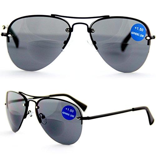 Lesen unter der Sonne! Viscare BIFOKALE Aviator Metall Bi-focal Lesebrille Sonnenbrille Mit Lesern +2.50 (Grant Aviator Foster Sonnenbrille)