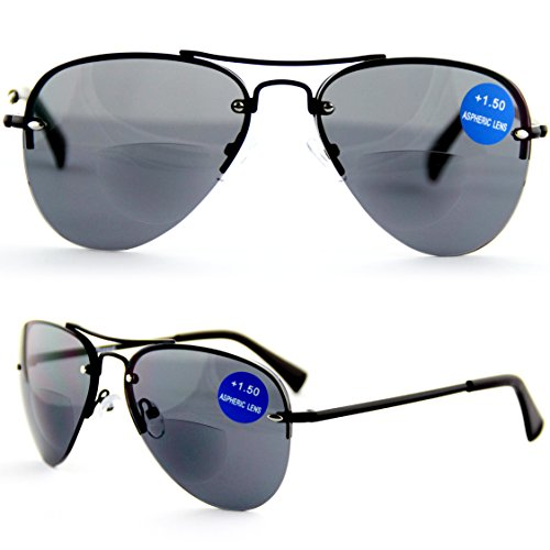 Lesen unter der Sonne! Viscare BIFOKALE Aviator Metall Bi-focal Lesebrille Sonnenbrille Mit Lesern +2.50 (Foster Aviator Grant Sonnenbrille)