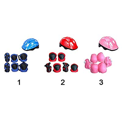 Kids Protective Gear Set, Children Skate Helmet Knee Pads Elbow Pads Wrist Guards for Skateboard Bike Cycle Roller Skating and Stunt Scooter 3-14 Years Old Boys Girls by Sweet48
