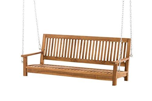 CLP Teakholz Schaukel Sitz-Bank, massiv und wetterfest, Gartenbank zum Aufhängen mit Ketten Modell Havana, 120 cm