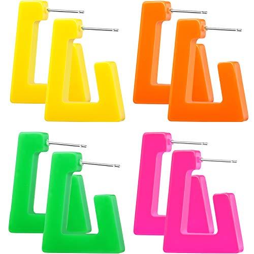 4 Paar 80 Jahre Damen Retro Ohrringe Geometrische Baumeln Neon Ohrringe für Party Kostüm Zubehör (Farbe Set 1)