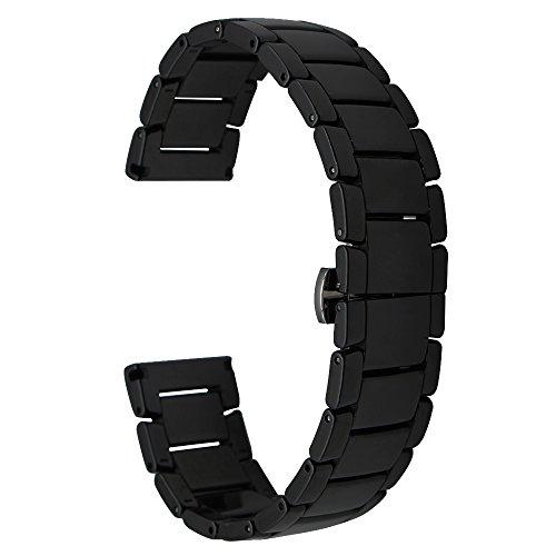 Galleria fotografica TRUMiRR 22 millimetri ceramica integrale cinturino per Samsung Gear S3 Classic Frontier, Gear 2 R380 R381 R382, Moto 360 2 46 millimetri, Asus ZenWatch 1 2 uomini, Ciottolo Tempo, Fibbia cinghia farfalla tutti i link rimovibile