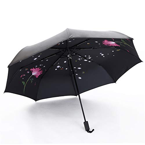 Regenschirm Taschenschirm Automatikschirm Winddicht kompakt und leicht und stabil,Schwarzer Kunststoff Sonnenschirm UV-Schutzschirm Farbe2 95cm