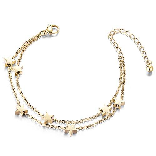 -Schicht Fußkettchen Rose Gold Platin Vergoldet Titan Stahl Sommer Strand Fußkettchen mit Anhänger, Geschenk für Mädchen ()