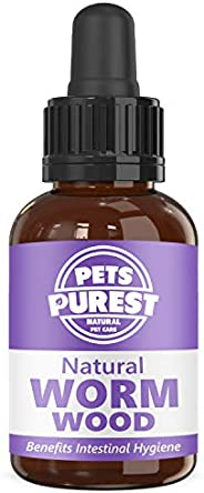 Pets Purest 100% Natural Wormwood Formula - Natural Alternative to Nasty Chemical Products - Benefits Intestin