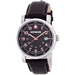 Wenger Urban Classic men's quartz Watch with black Dial analogue Display and brown leather Strap 011041104