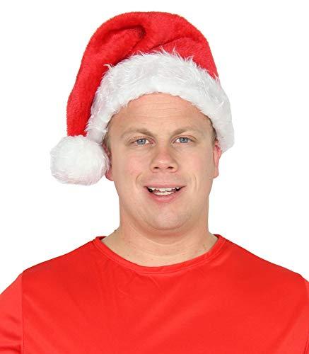 Foxxeo plüschige Weihnachtsmann Mütze in rot für Weihnachtsmann Nikolaus Santa Claus