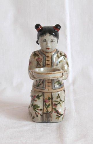 AAF Nommel®, chinesische Figur Geisha 08 aus Beiger Keramik mit phantasievollen traditionellen Mustern -