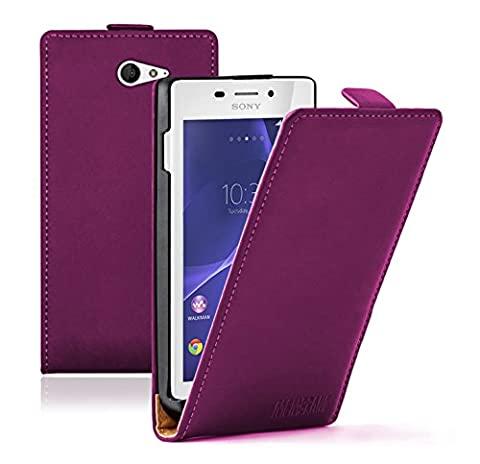 Membrane - Ultra Slim Violet Etui Coque Sony Xperia M2 Aqua - Flip Case Cover Housse + 2 Protections