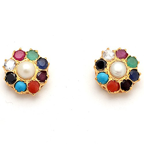 Earring Pearl CZ Fine AD Nauratan Gemstone & Multi-Garnet Diamond Look Beauty Natural Jhumka  available at amazon for Rs.220