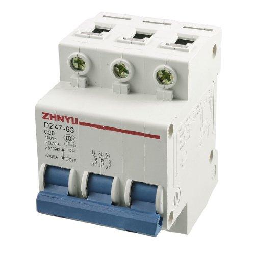 Aexit DZ47–63 C20 Leistungsschalter AC 400 V 20 A 3 Pole MCB Leitungsschutzschalter Miniatur Leitungsschutzschalter