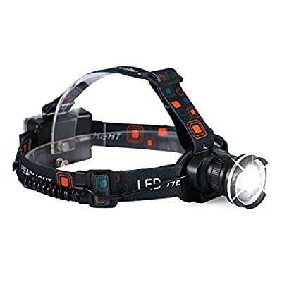 Zoomable Head Torch,LED Head Lamp with Adjustable Headband,3 Light Modes,Waterproof Headlight Flashlight for Climbing, Camping,Hiking, Fishing and Other Outdoor Activities by CamGo