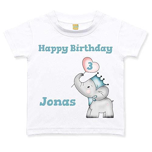 Geburtstagstshirt kurzarm Junge 3 Jahre weiß Elefant Herz Geburtstag T-Shirt, Größe:3 bis 4 Jahre