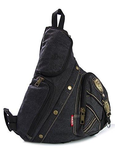 Big Handbag Shop da uomo, in tela monostrap Ciclismo Croce Corpo Messenger Zaino da viaggio Palestra Black (KL209)