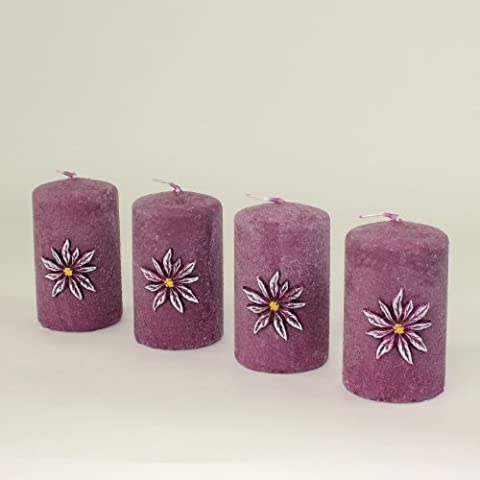 Set de velas de Adviento con forma de velas de Anton, 4 unidades 100/60 mm colour morado Colour de rosa de colour