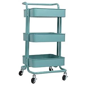 WOLTU Küchenwagen Rollwagen Servierwagen Küchentrolley Metall für Küche Wohnzimmer 44×37,5×87,5cm #1801