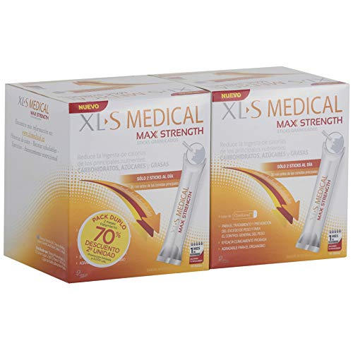 XLS Medical Max Strength Tratamiento para 2 meses, Producto Sanitario para el Tratamiento, la Prevención del Exceso de Peso y para el Control General del Peso - 2 x 60 sticks