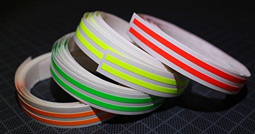 Finest Folia Neon Stripes Streifen Aufkleber Grelle Makierungsfolie Makierung Auto Motorrad Caravan Roller Boot (Gelb Fluoreszierend, 2 Streifen 2 Meter 3mm breit) - Neon Streifen