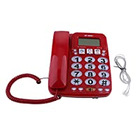 D DOLITY Universal Big Button Corded Phone High Definition Amplified Photo Phone For Family Home Adjustable Ringing Volume and Tone Controls Red