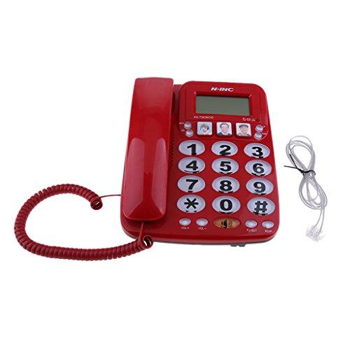 D DOLITY Quadband GSM Tischtelefon Business Phone Schnellwahltelefon für Büro, Familie und Senioren, Anrufer-ID Freisprech-Freisprechmodus usw. - rot