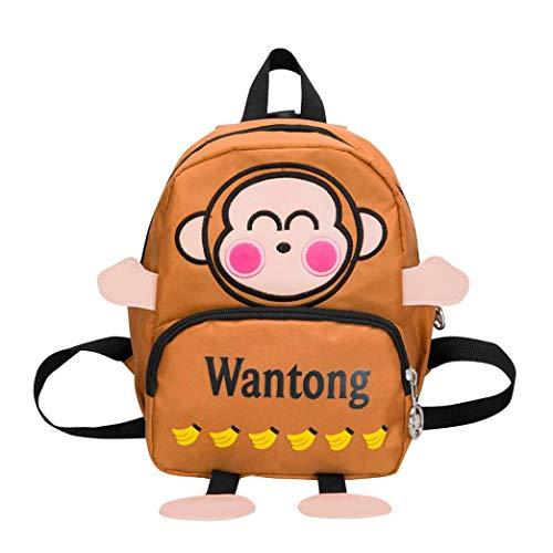 OdeJoy Kind Mädchen Junge Niedlich Affe Brief Drucken Schulranzen Kleinkind Schuletasche Karikatur Rucksack Schulranzen Mode Reißverschluss Backpack Cute Students Bags(Braun,1 PC)