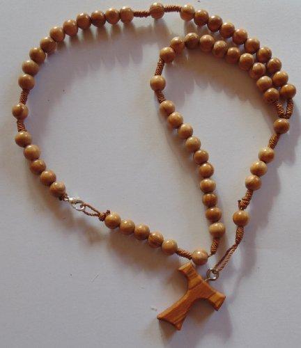 Holzrosenkranz mit Verschluss aus Olivenholz mit Tau Kreuz, Antoniuskreuz, Franziskuskreuz