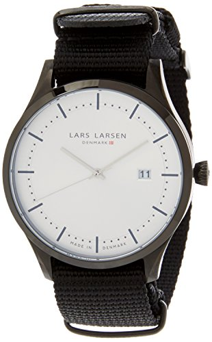 Lars Larsen Men's Quartz Watch with White Dial Analogue Display and Black Resin Strap 119CSBLN