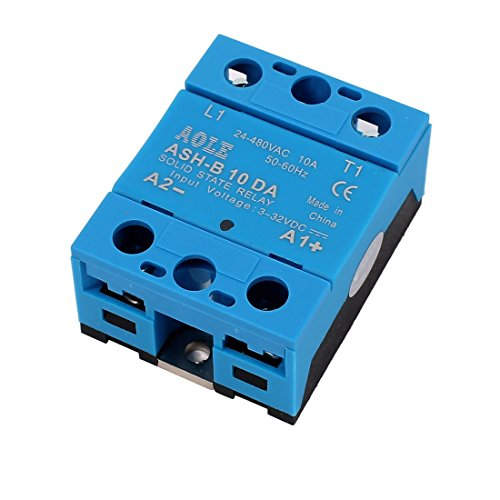 ZCHXD ASH-10DA 3-32VDC to 480VAC 10A Single Phase Solid State Relay DC to AC
