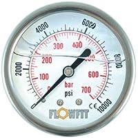 """100mm relleno de glicerina hidráulico manómetro 0–6000PSI (414Barra) 1/2""""BSP trasero entrada"""