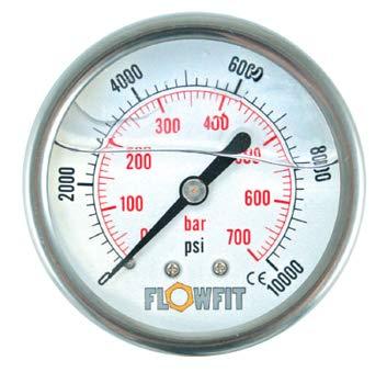 100 mm Glyzerin Arbeitshydraulik Manometer gefüllt 0-100 PSI (7 BAR) 1.27 cm BSP Eintrage hinten -