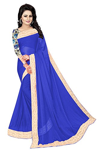 Vrati Fashion Women's Blue Colour Laycra Saree With Unstiched Blouse Material