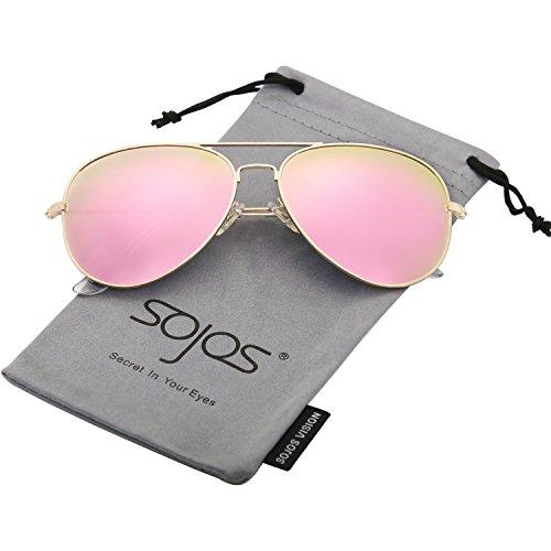 SOJOS Schick Klassische UV Schützen Polarisiert Sonnenbrille Herren SJ1054 mit Gold Rahmen/Rosa Linse