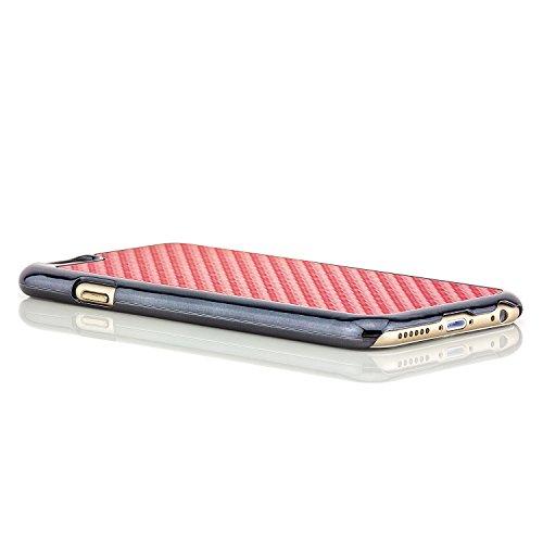 Saxonia® iPhone 6 Plus / 6S Plus Hülle Case Schutzhülle Cover Slim Design in Carbon-Optik Braun Rot