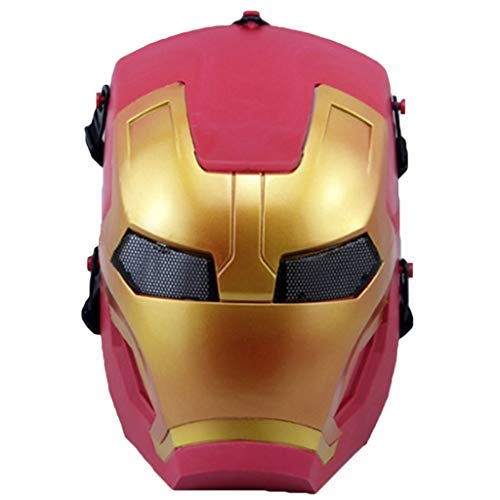QWEASZER Iron Man Maske Cosplay Erwachsenen Maske, Iron Man Hood Helm Comics Hero Headgear Kostüm Cosplay für Erwachsene und Jugendliche Maskerade Helm Halloween Maske,Iron man-53cm~63cm (Iron Man Halloween)