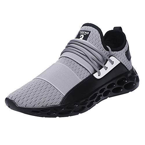 BHYDRY Sneakers Casual Uomo per Scarpe da Tennis per Adulti Leggero Traspirante Lacci Sneakers(46 EU,Grigio)