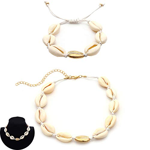 Daimay 2PCS Choker und Armband Set Handmade Shells Choker Boho Schlüsselbein Halskette für Frauen und Mädchen - White Line und Gold Anhänger (Outfits 2pcs)