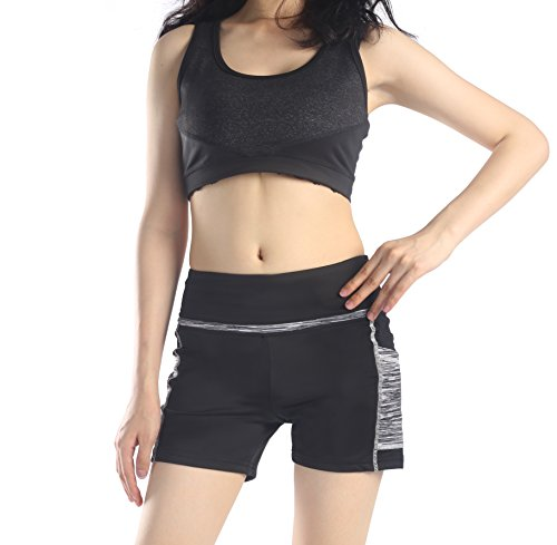 Munvot Tailored Geschenke kurze Sport Leggings Damen Sporthose Fitnesshose Yoga Leggings Sporthose für Damen(Schwarz Grau (Kurze Hose) L)