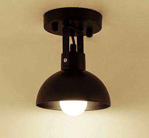 ZHDC® Deckenleuchten, Nordic Kreative Persönlichkeit Bügeleisen Deckenleuchte Restaurant Balkon Arbeitshalle Eingangshalle Korridorleuchten E27 Lichtquelle Leicht zu reinigende Deckenlampe ( Farbe : Schwarz )