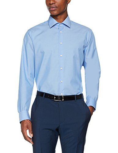 Seidensticker Herren Business Hemd Tailored Fit, Blau (Mittelblau 14), 44